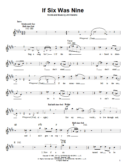 If Six Was Nine (Lead Sheet / Fake Book)