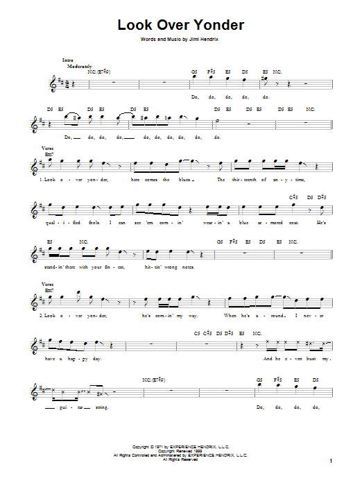 Look Over Yonder (Lead Sheet / Fake Book)