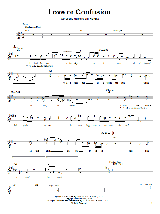 Love Or Confusion Sheet Music