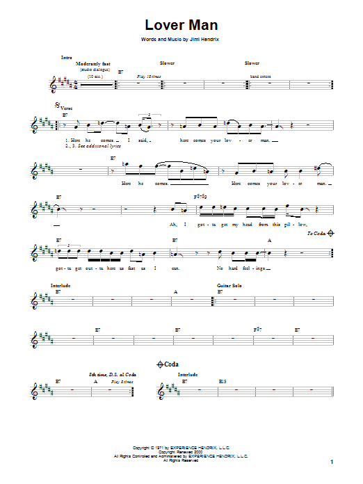 Lover Man Sheet Music