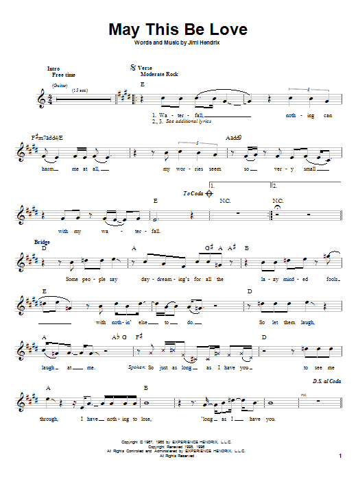 May This Be Love Sheet Music