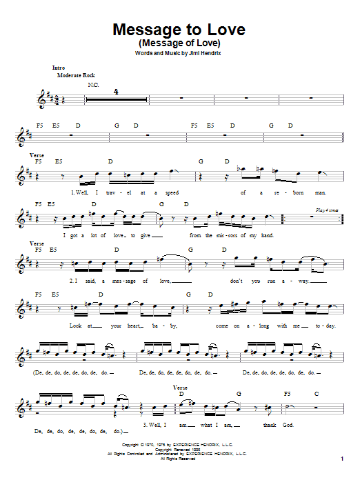 Message To Love (Message Of Love) Sheet Music
