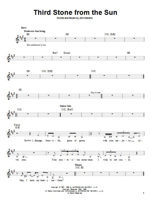 Third Stone From The Sun Sheet Music