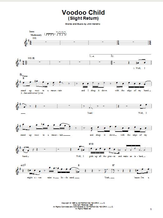 Voodoo Child (Slight Return) (Easy Guitar)