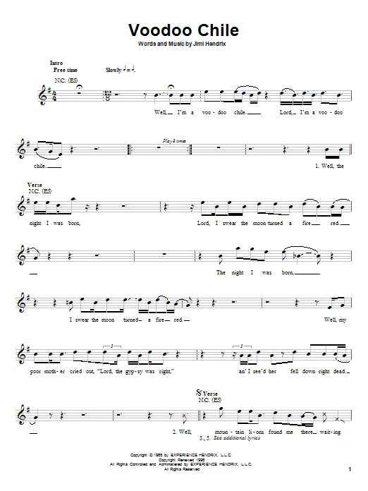 Voodoo Chile (Lead Sheet / Fake Book)