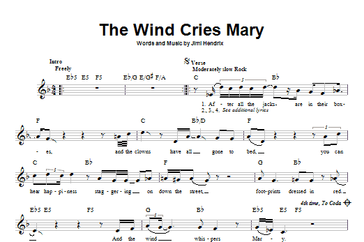 The Wind Cries Mary Sheet Music