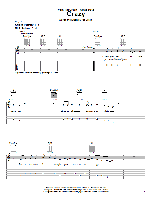 Crazy (Easy Guitar Tab)