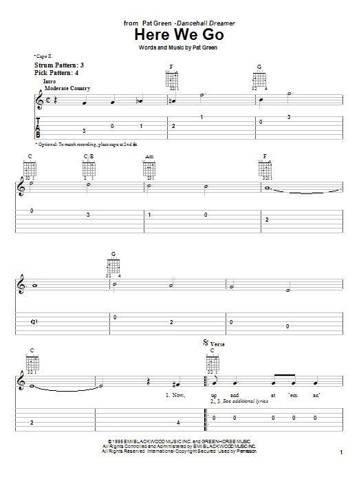 Tablature guitare Here We Go de Pat Green - Tablature guitare facile