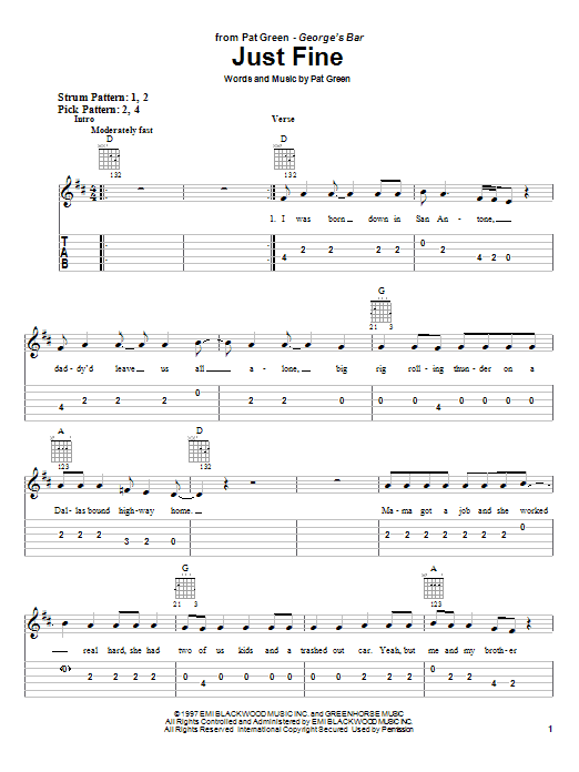 Tablature guitare Just Fine de Pat Green - Tablature guitare facile