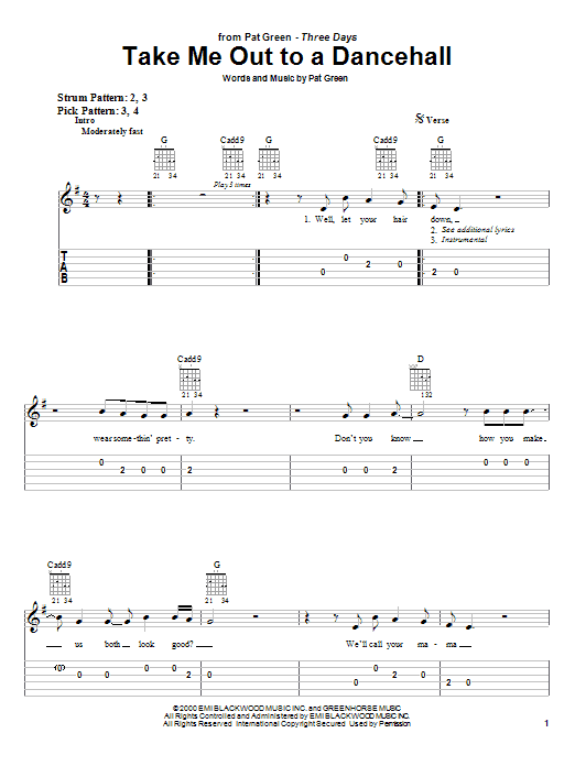 Tablature guitare Take Me Out To A Dancehall de Pat Green - Tablature guitare facile