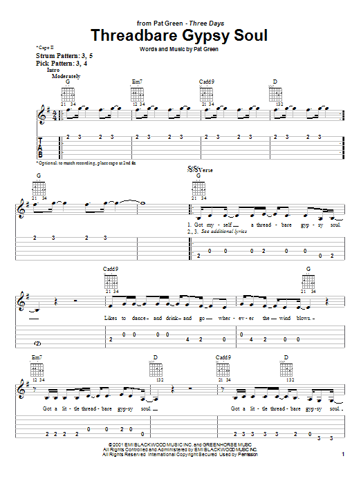 Tablature guitare Threadbare Gypsy Soul de Pat Green - Tablature guitare facile