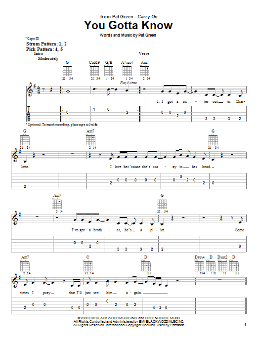 Tablature guitare You Gotta Know de Pat Green - Tablature guitare facile