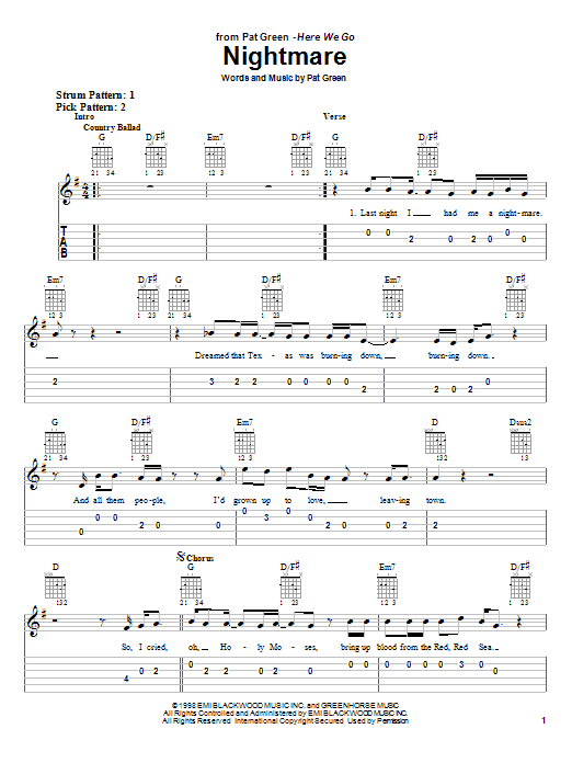Tablature guitare Nightmare de Pat Green - Tablature guitare facile