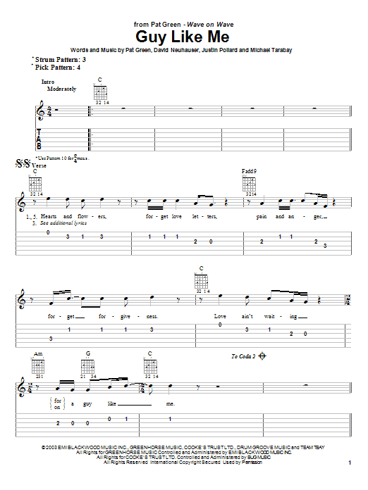 Tablature guitare Guy Like Me de Pat Green - Tablature guitare facile