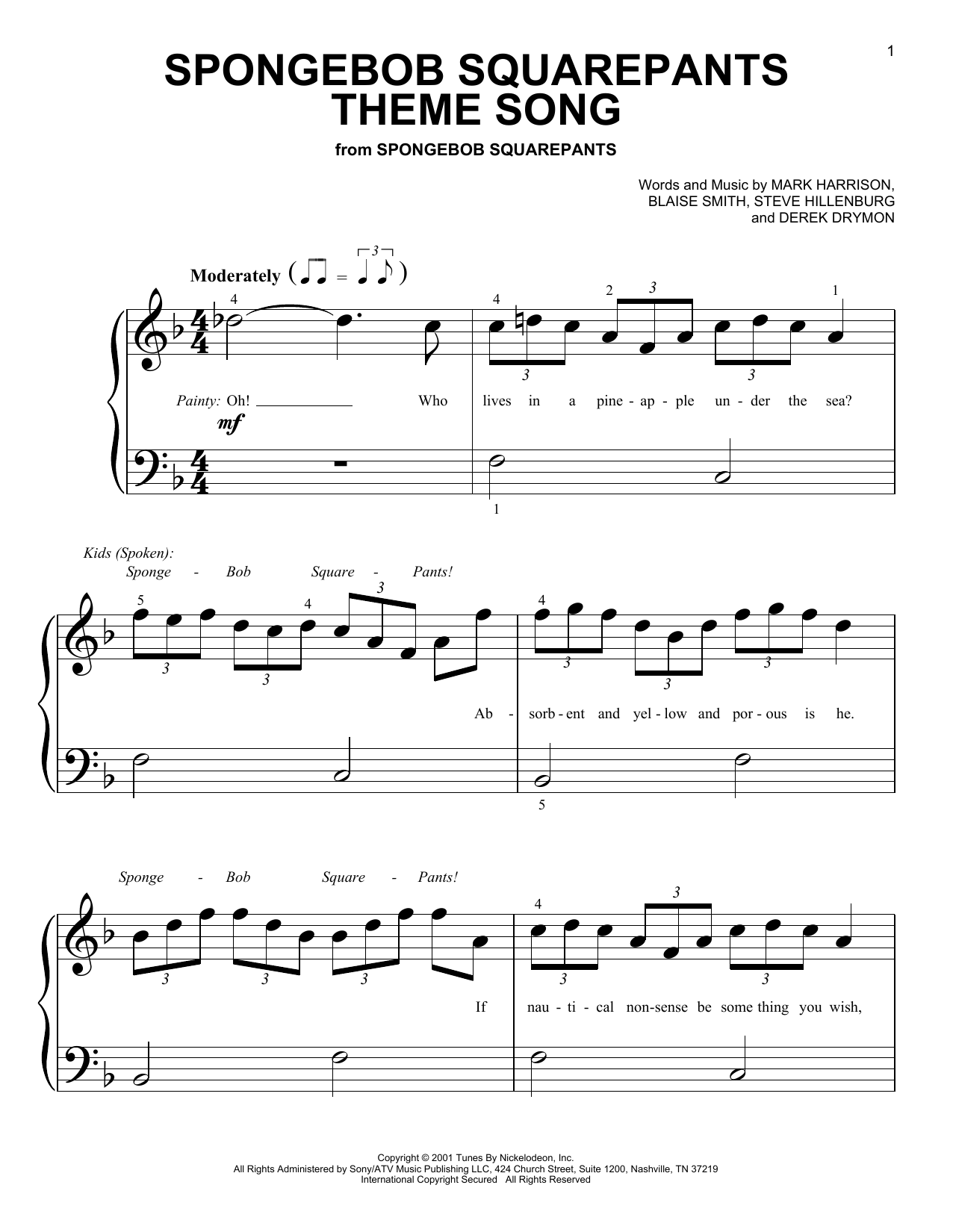 Spongebob squarepants theme song sheet music direct for Best piano house tracks