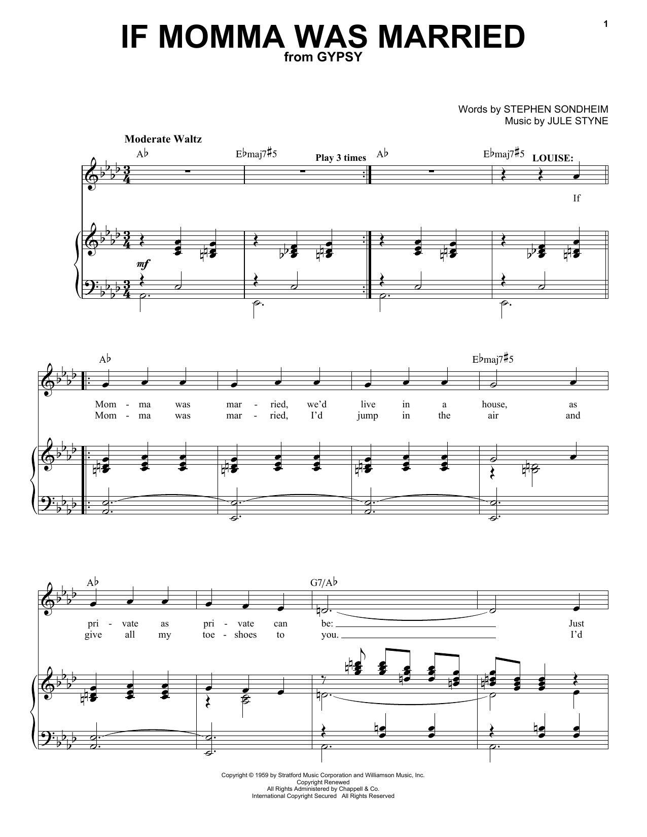 Partition piano If Momma Was Married de Stephen Sondheim - Piano Voix