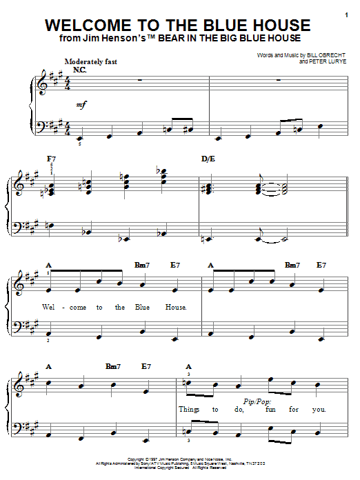 Welcome To The Blue House Sheet Music