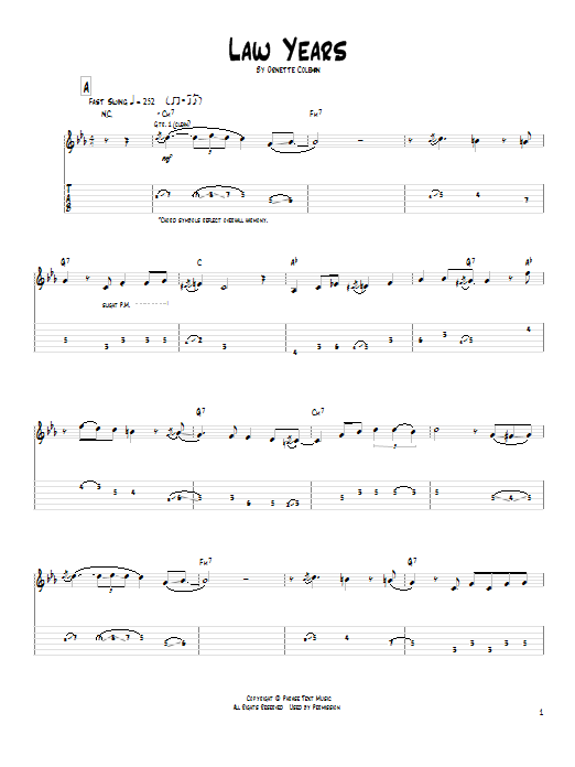Tablature guitare Law Years de Pat Metheny - Tablature Guitare