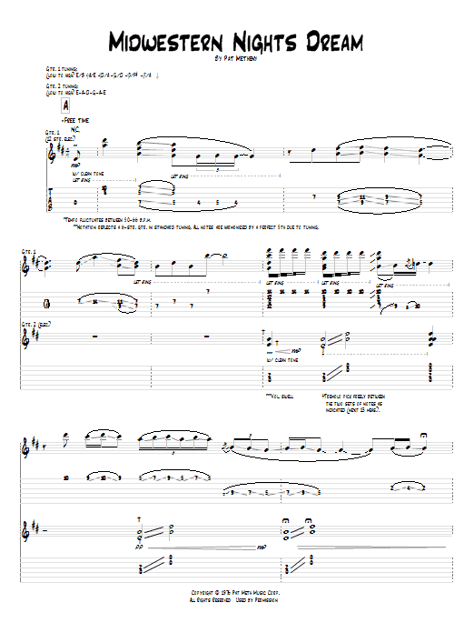 Tablature guitare Midwestern Nights Dream de Pat Metheny - Tablature Guitare