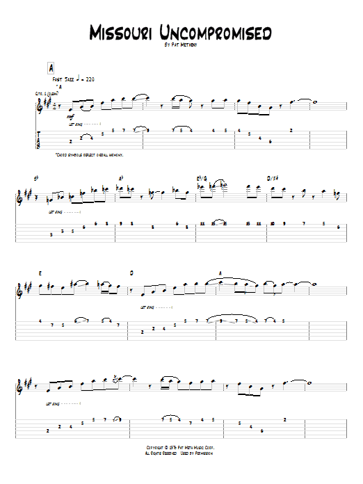 Tablature guitare Missouri Uncompromised de Pat Metheny - Tablature Guitare