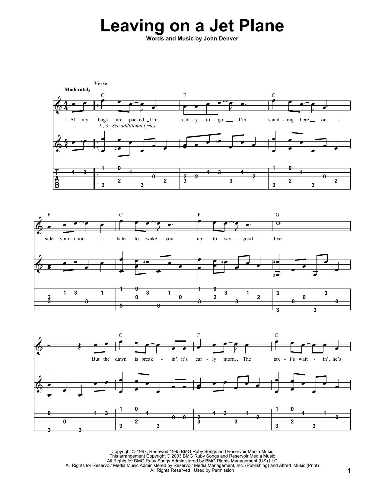 Tablature guitare Leaving On A Jet Plane de John Denver - Tablature Guitare