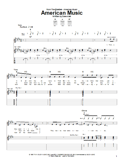 Tablature guitare American Music de The Blasters - Tablature Guitare