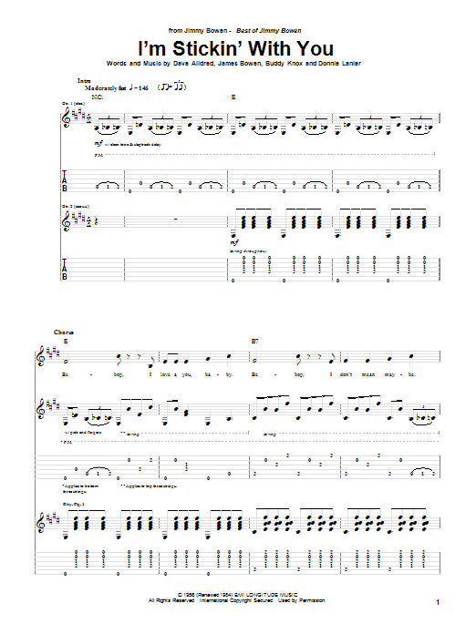 I'm Stickin' With You (Guitar Tab)