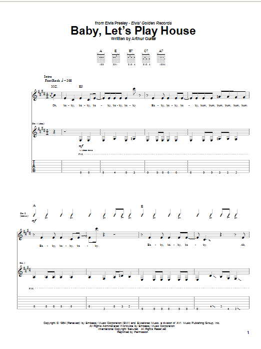 Tablature guitare Baby, Let's Play House de Elvis Presley - Tablature Guitare