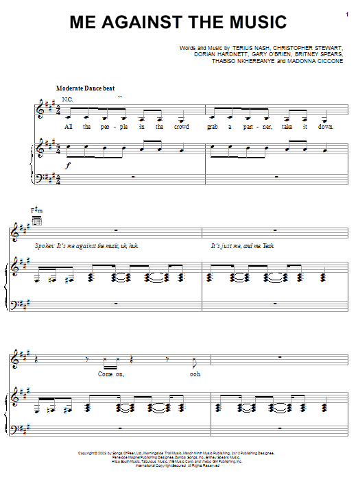 Me Against The Music (feat. Madonna) Sheet Music