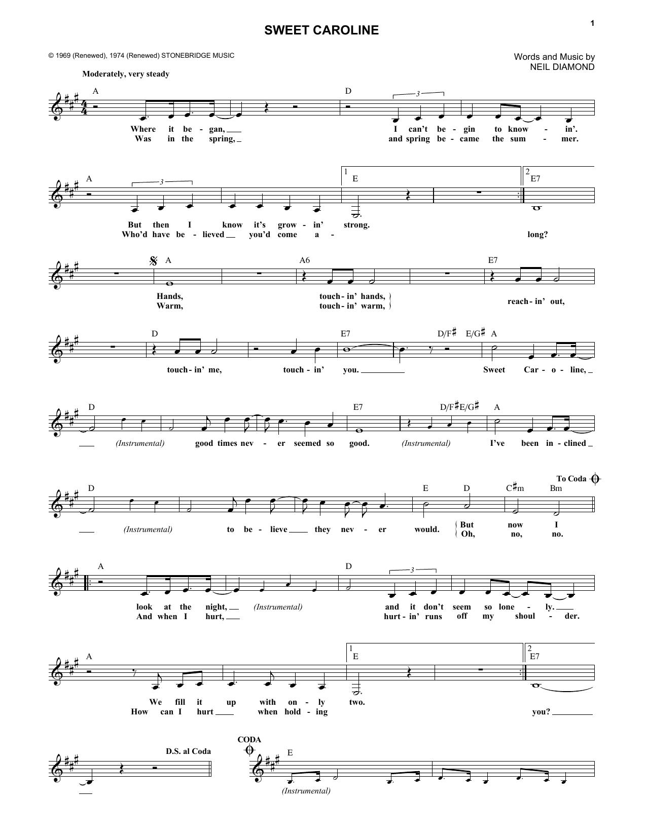 Sweet Caroline | Sheet Music Direct