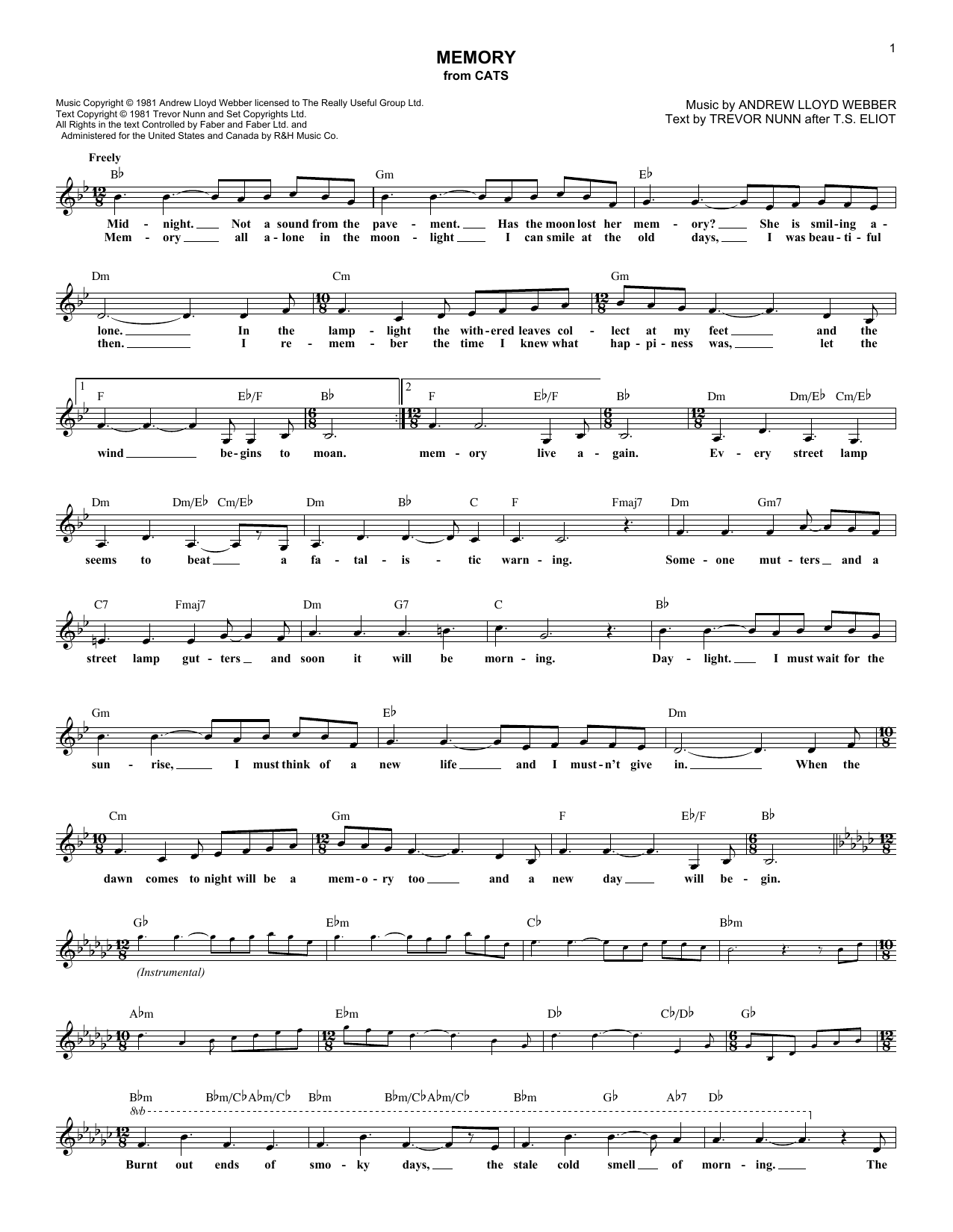 Memory (from Cats) (Lead Sheet / Fake Book)