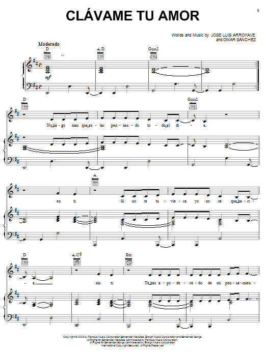 Clavame Tu Amor Sheet Music