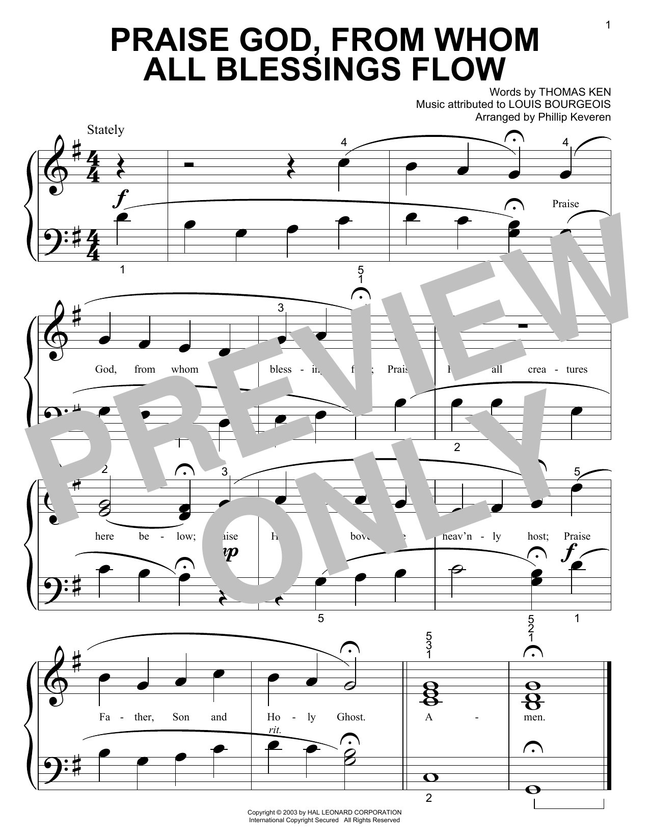 Praise God, From Whom All Blessings Flow Sheet Music