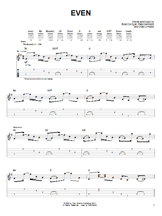 Tablature guitare Even de Dispatch - Tablature Guitare