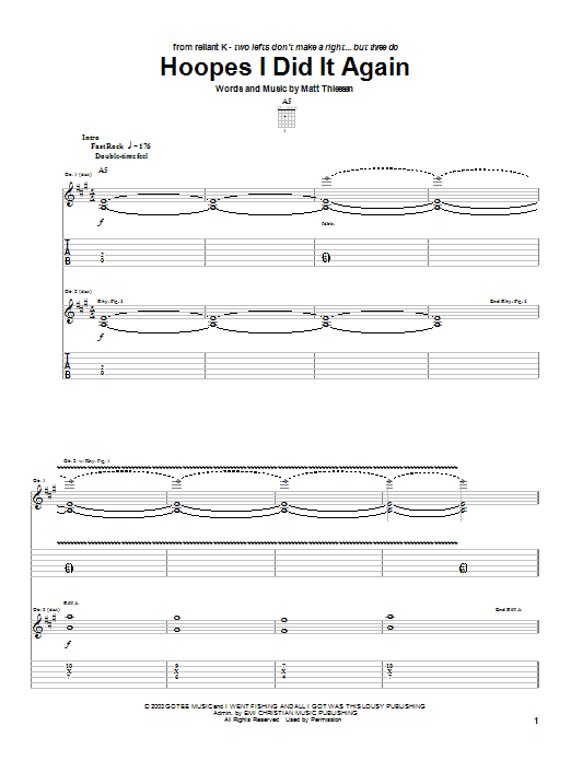 Hoopes I Did It Again (Guitar Tab)