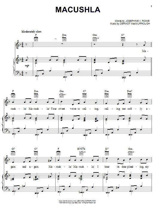 Macushla (Piano, Vocal & Guitar (Right-Hand Melody))