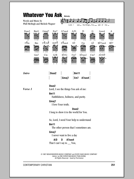 Whatever You Ask Sheet Music