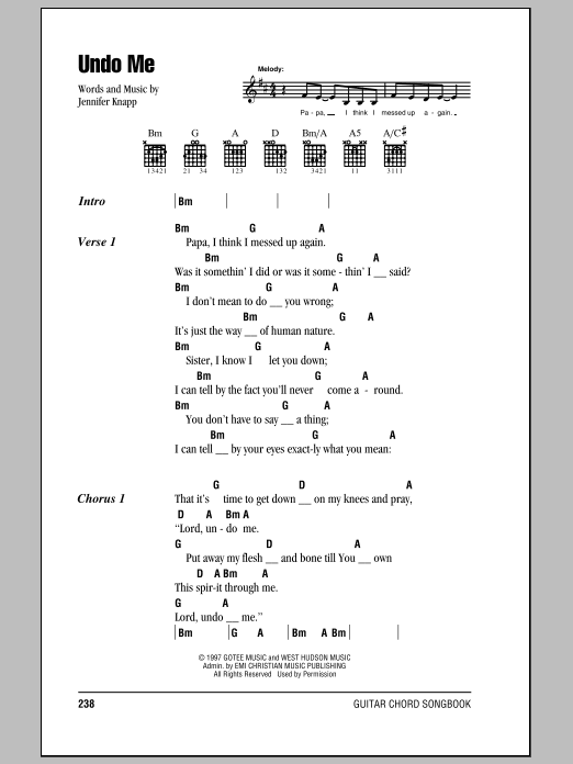 Undo Me by Jennifer Knapp - Guitar Chords/Lyrics - Guitar ...