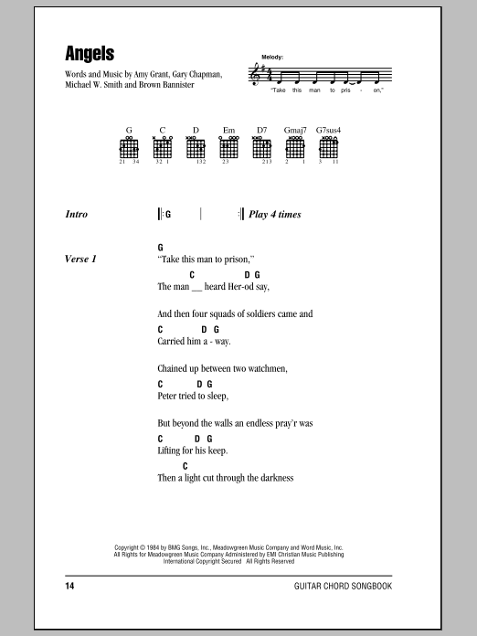 Angels Sheet Music By Amy Grant Lyrics Chords 82104
