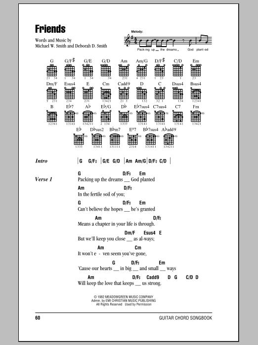 Friends Sheet Music By Michael W Smith Lyrics Chords 82139