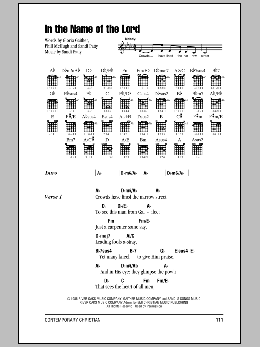 In The Name Of The Lord Sheet Music