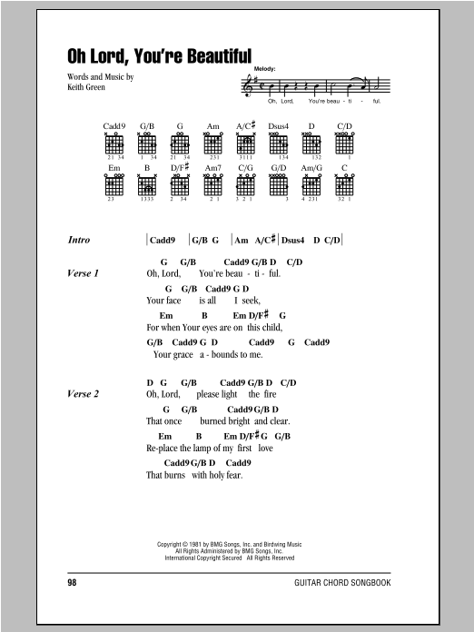 Oh Lord, You\'re Beautiful by Keith Green - Guitar Chords/Lyrics ...