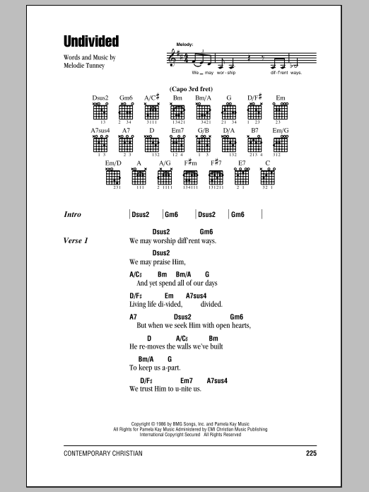 Undivided First Call Lyrics Chords