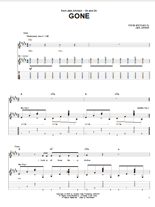 Tablature guitare Gone de Jack Johnson - Tablature Guitare