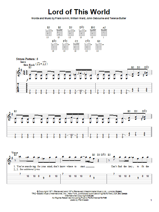 Tablature guitare Lord Of This World de Black Sabbath - Tablature guitare facile
