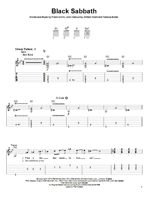 Tablature guitare Black Sabbath de Black Sabbath - Tablature guitare facile