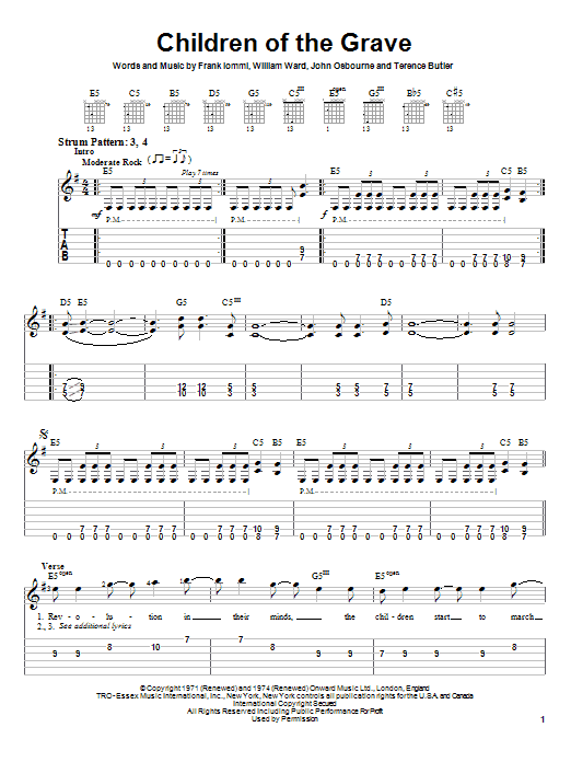 Tablature guitare Children Of The Grave de Black Sabbath - Tablature guitare facile