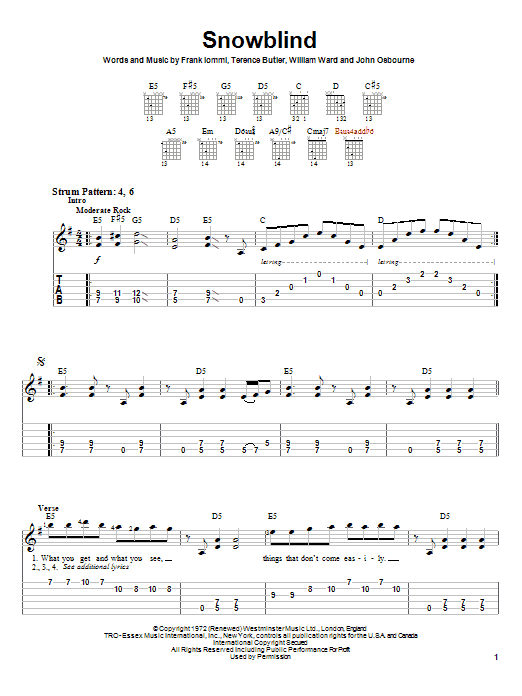 Tablature guitare Snowblind de Black Sabbath - Tablature guitare facile