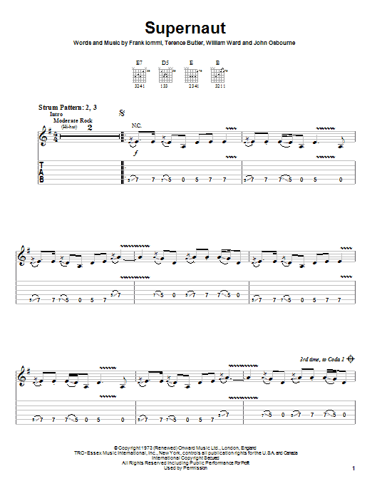supernaut sheet music by black sabbath easy guitar tab 26135. Black Bedroom Furniture Sets. Home Design Ideas