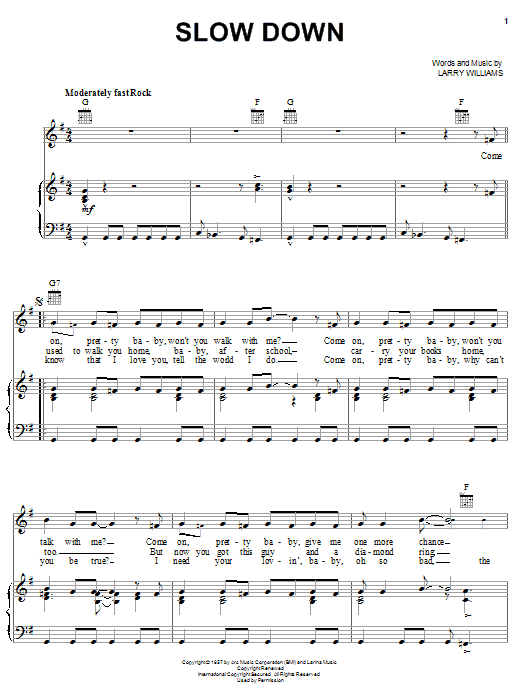 Slow Down (Piano, Vocal & Guitar (Right-Hand Melody))